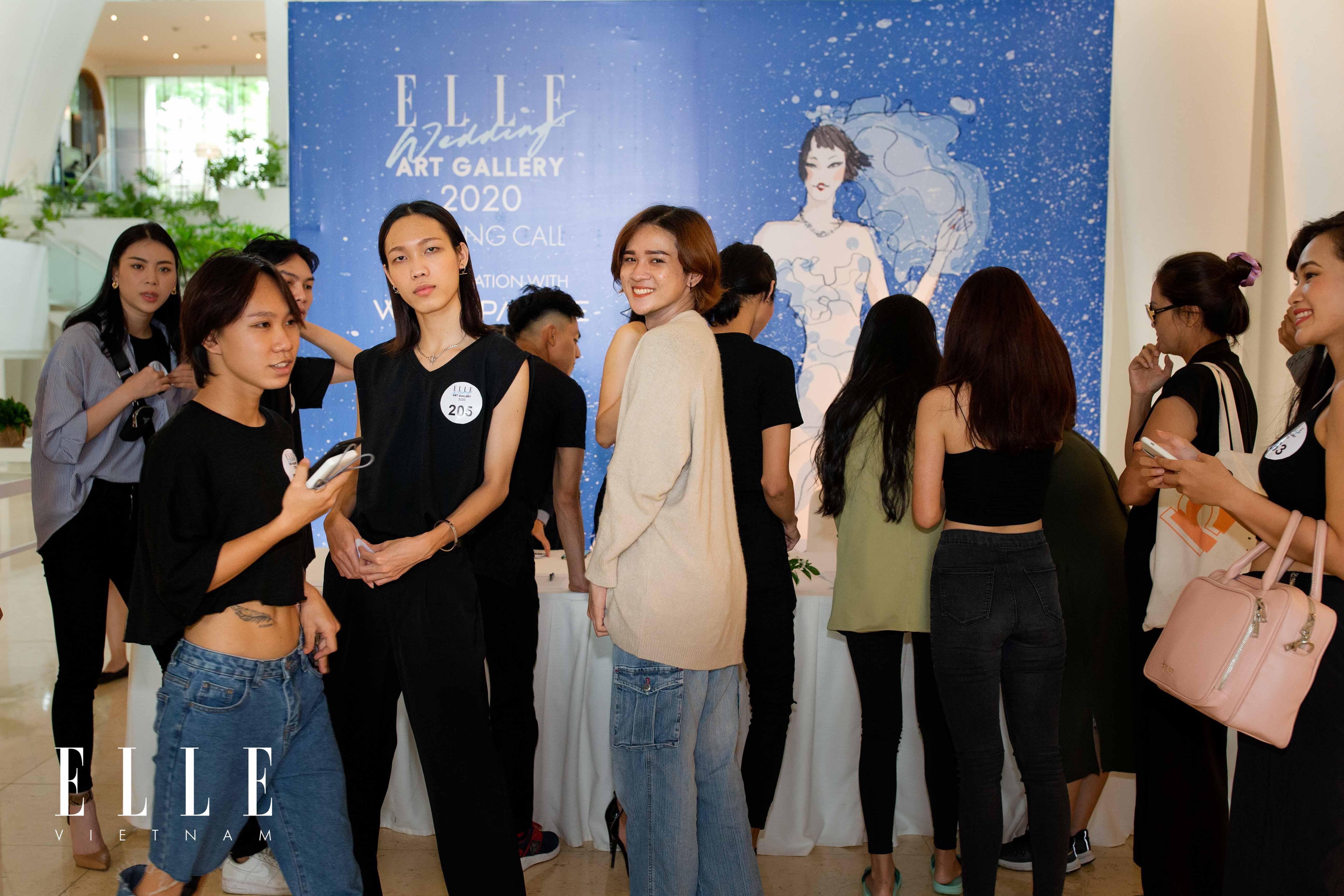 người mẫu tại phòng chờ buổi tuyển chọn cho elle wedding art gallery white palace