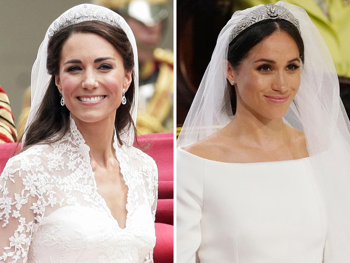 Váy cưới hoàng gia - Công nương Kate Middleton và Meghan Markle đội vương miện truyền thống