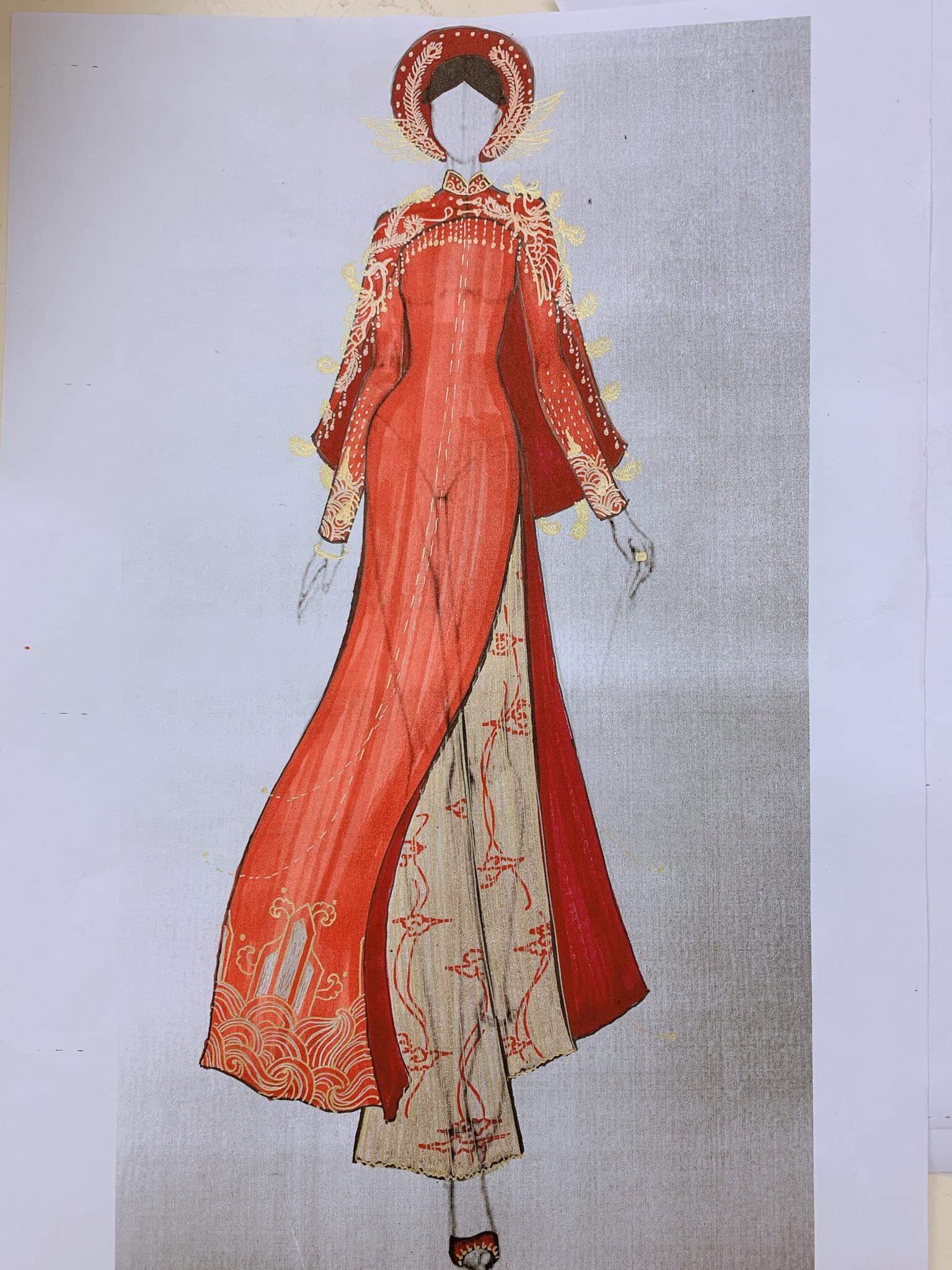 Bản sketch áo dài cưới màu đỏ của NTK Thủy Nguyễn
