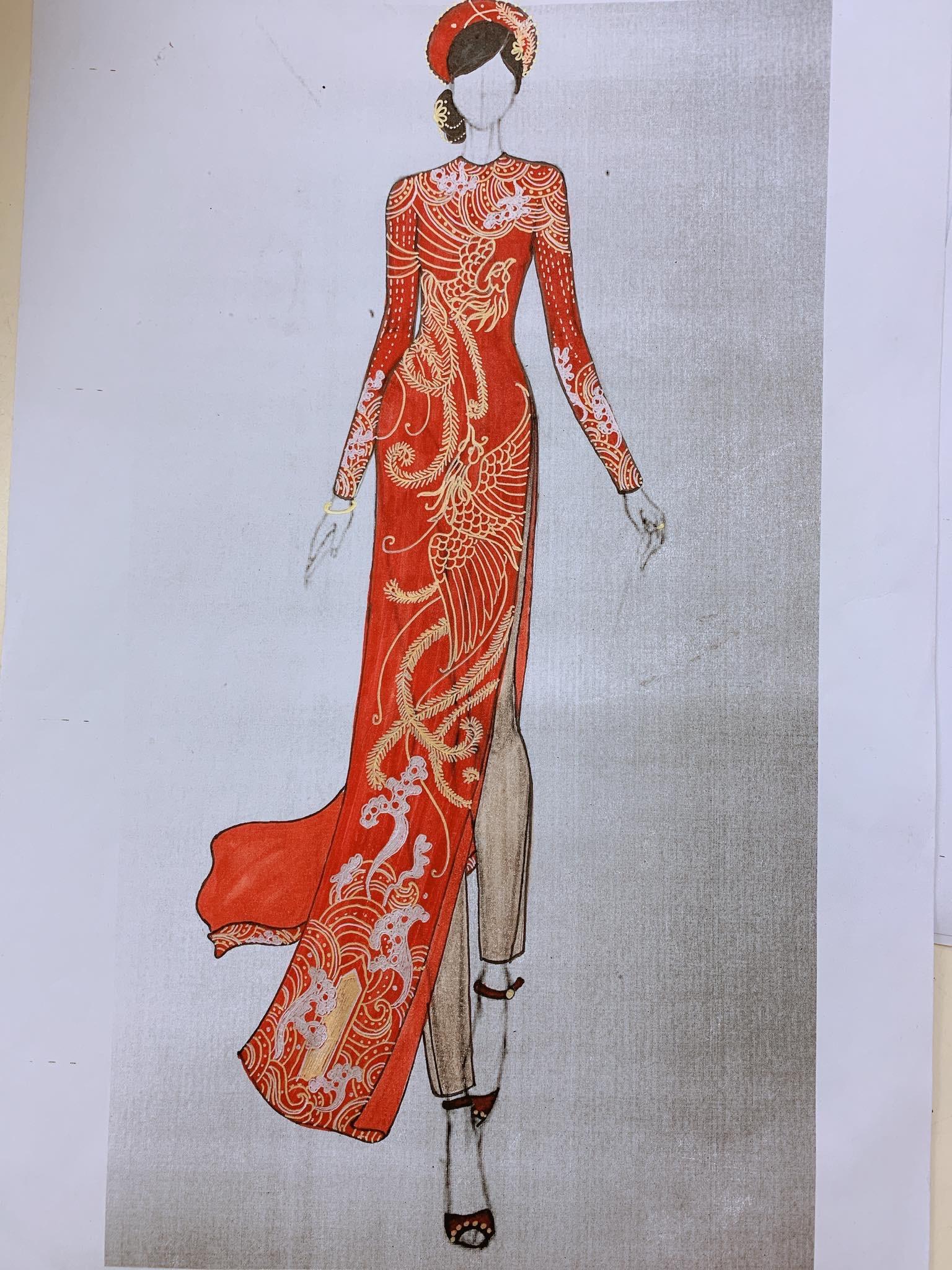 Bản sketch áo dài cưới màu đỏ thêu rồng phượng của NTK Thủy Nguyễn