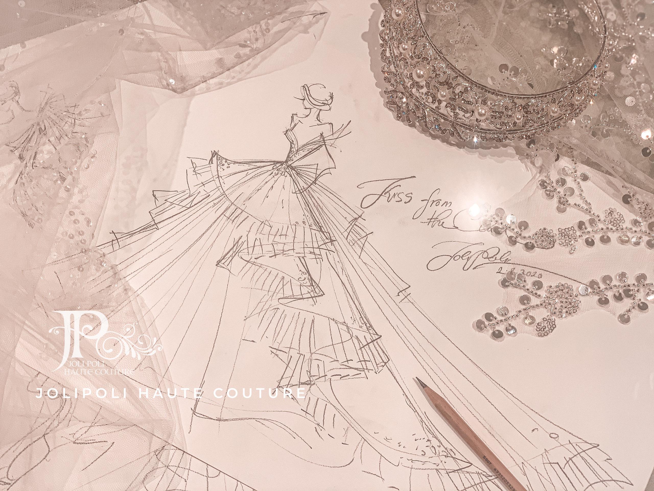 Bản phác thảo váy cưới NTK Phạm Đăng Anh Thư ELLE Wedding Art Gallery 2020