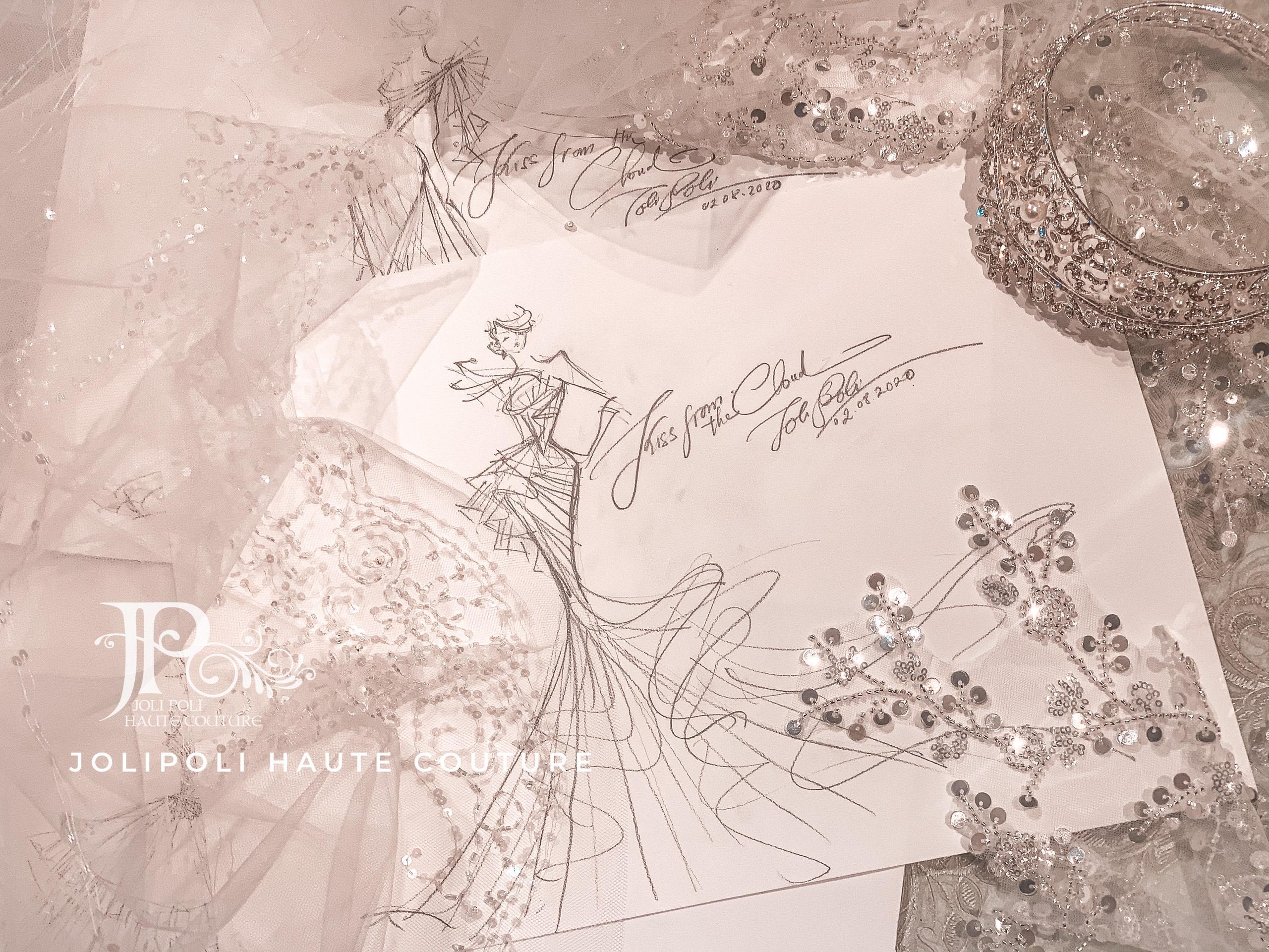 Bản sketch váy cưới NTK Phạm Đăng Anh Thư ELLE Wedding Art Gallery 2020