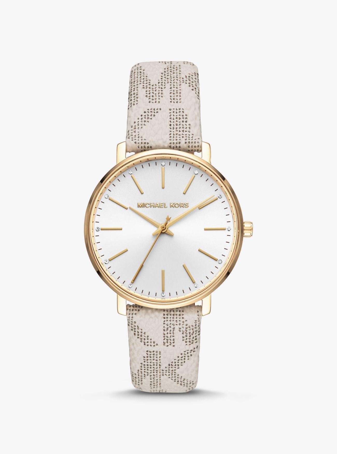 Đồng hồ dây da cách điệu Michael Kors