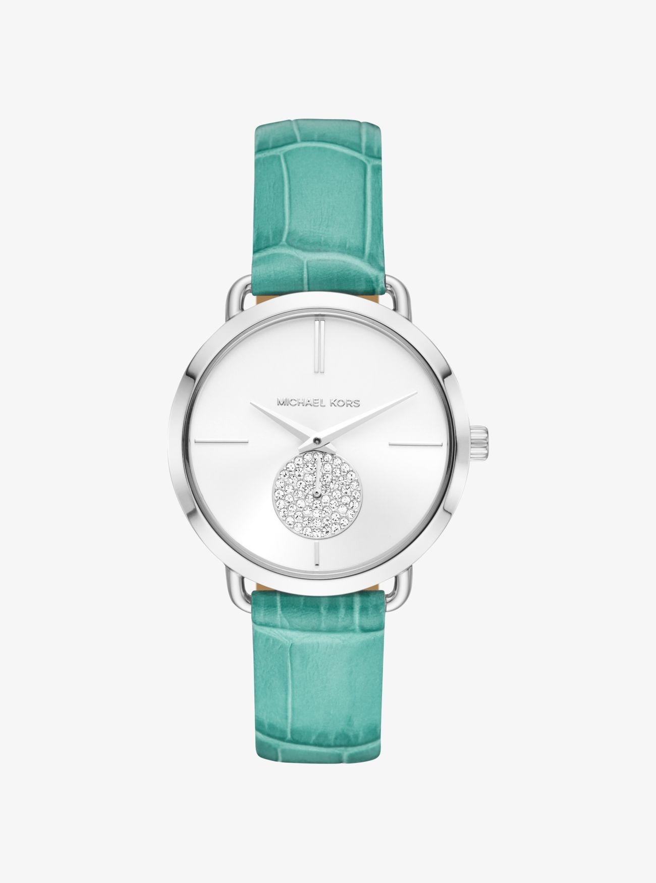 Đồng hồ dây da màu xanh ngọc Michael Kors