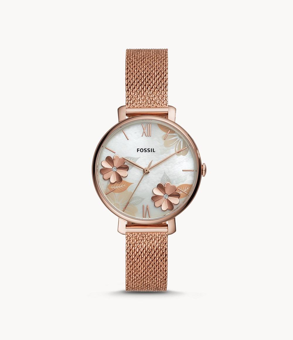 Đồng hồ kim loại đính hoa Fossil