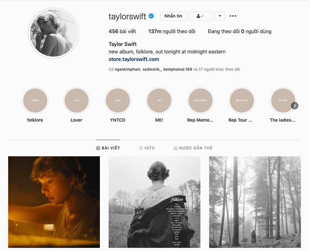 ảnh chụp IG Taylor Swift album folklore