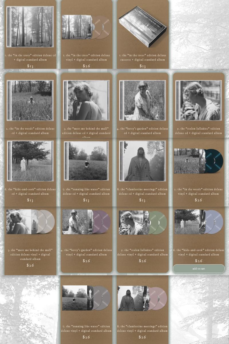 các version bìa album folklore của Taylor Swift