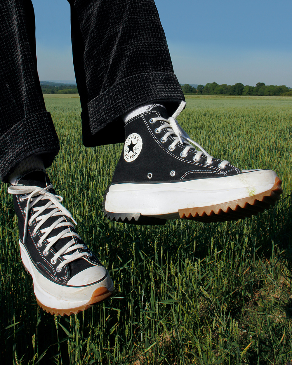 giày converse run star hike màu đen high top