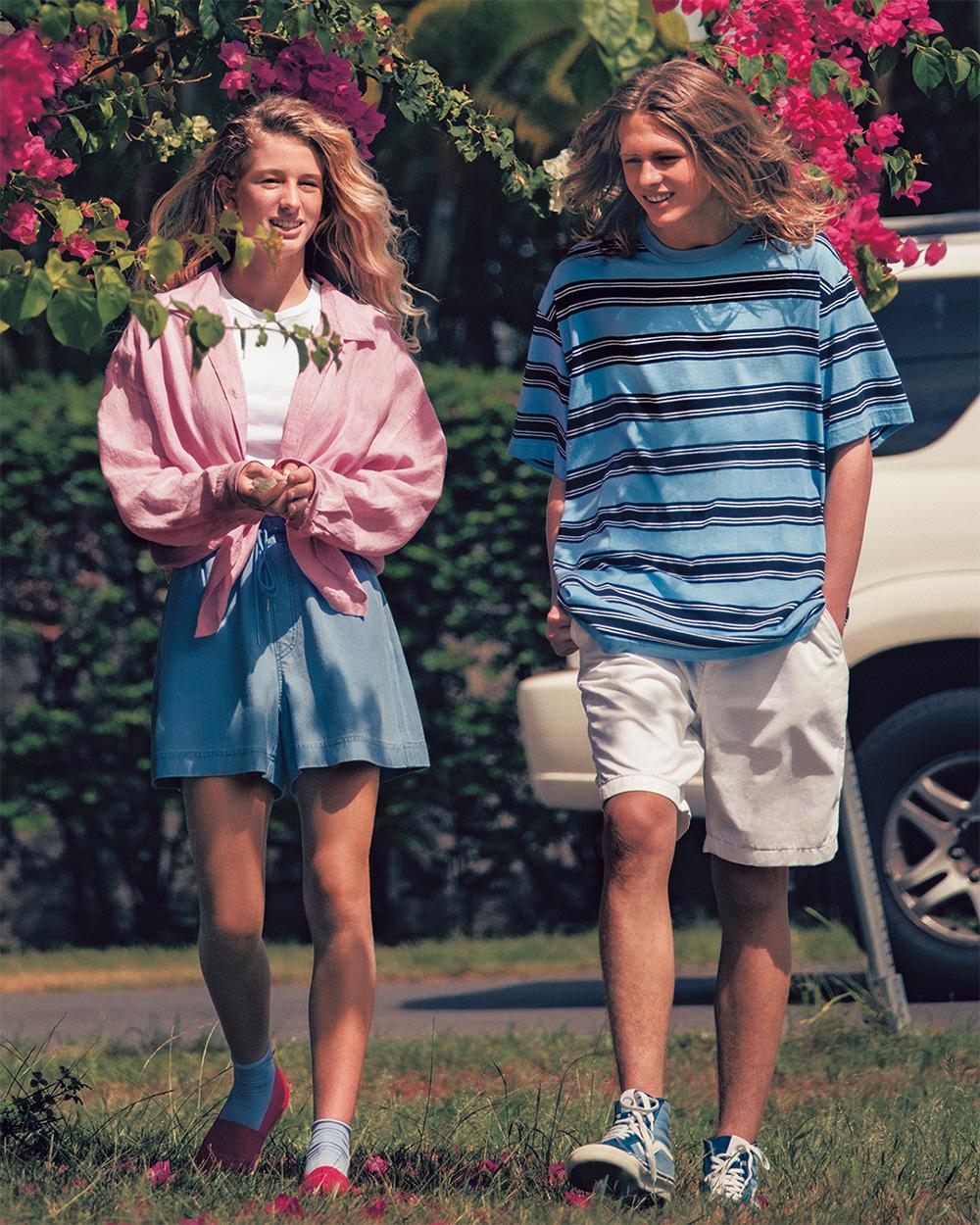người mẫu mặc những kiểu quần shorts uniqlo mùa hè