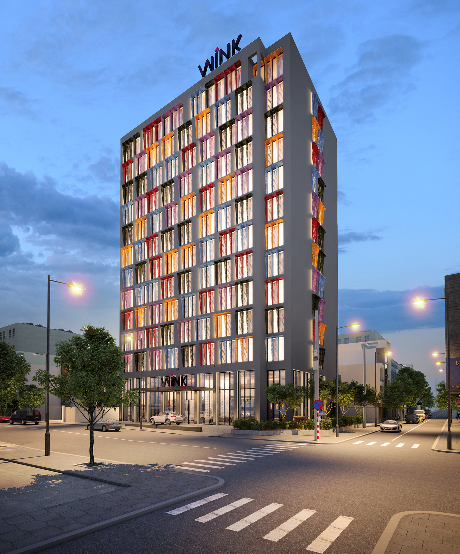 kiến trúc bên ngoài khách sạn wink