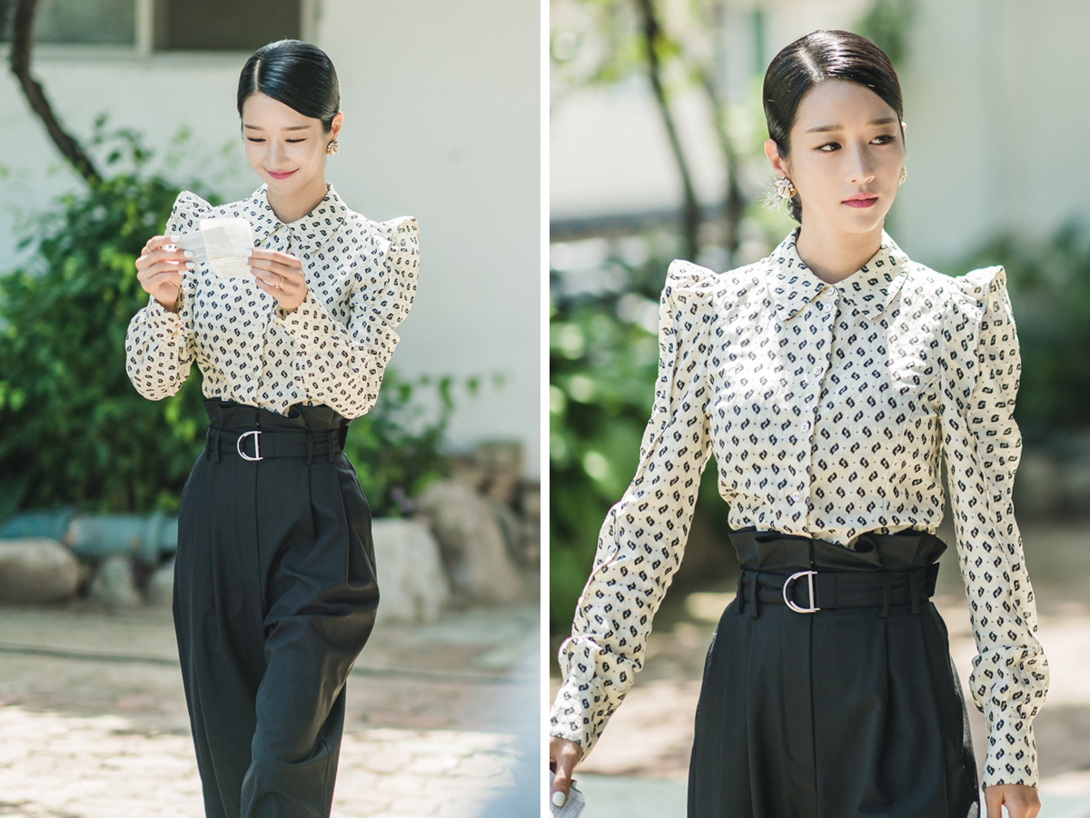 Seo Ye Ji mặc sơ mi in họa tiết và quần âu đen trong Điên Thì Có Sao