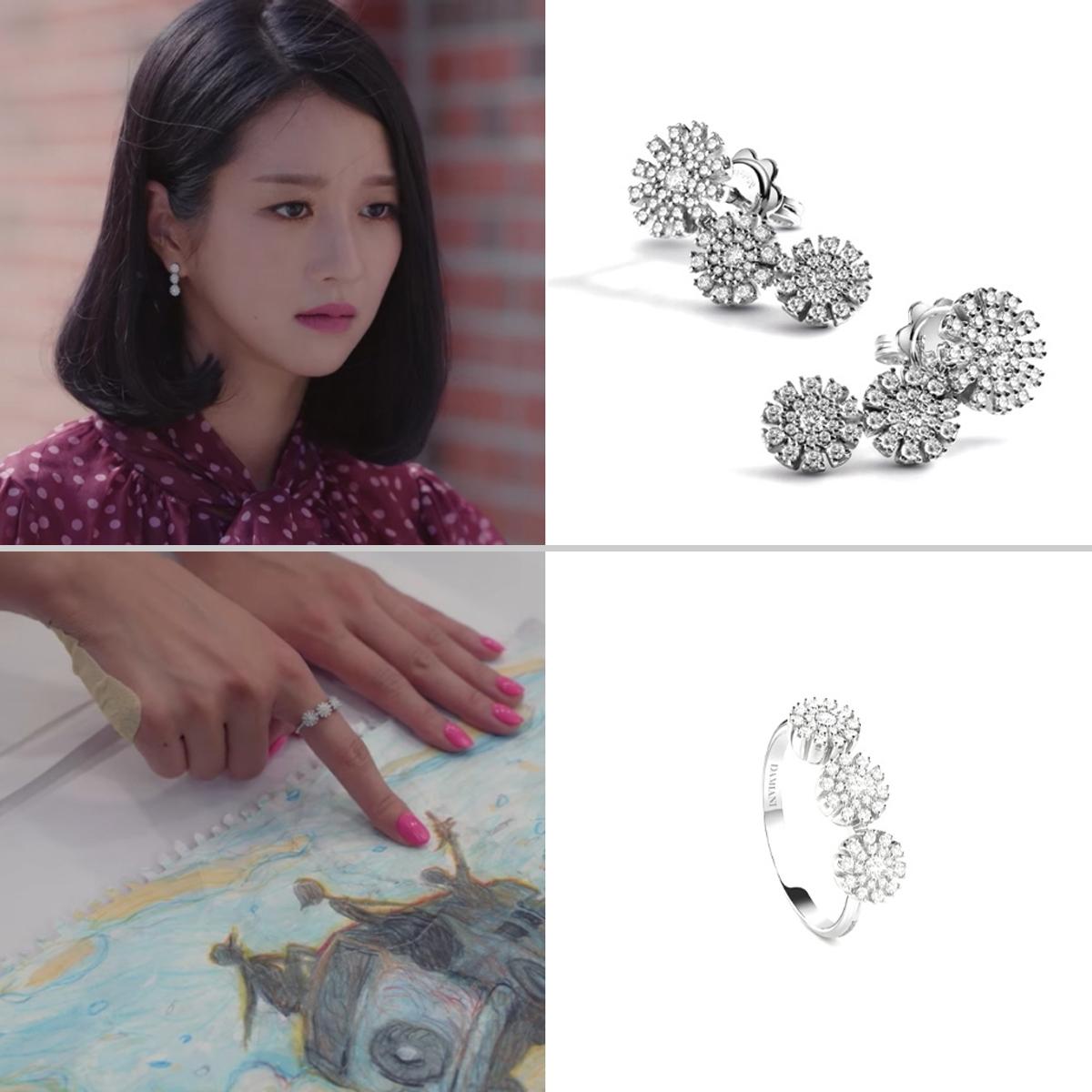 eo Ye Ji đeo nhẫn và hoa tai Damiani trong Điên Thì Có Sao