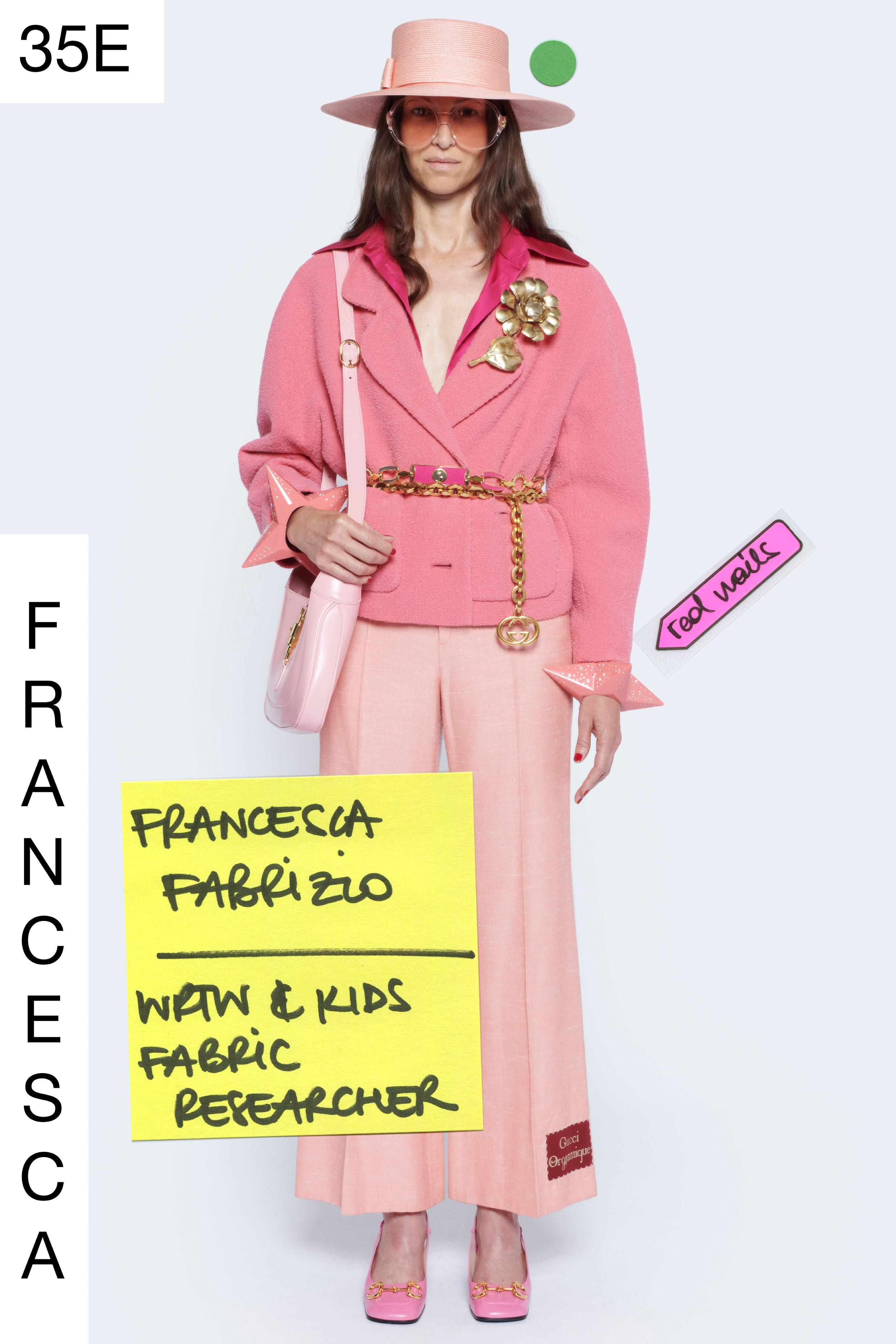 Trang phục màu pastel hồng thạch anh - Gucci resort 2021