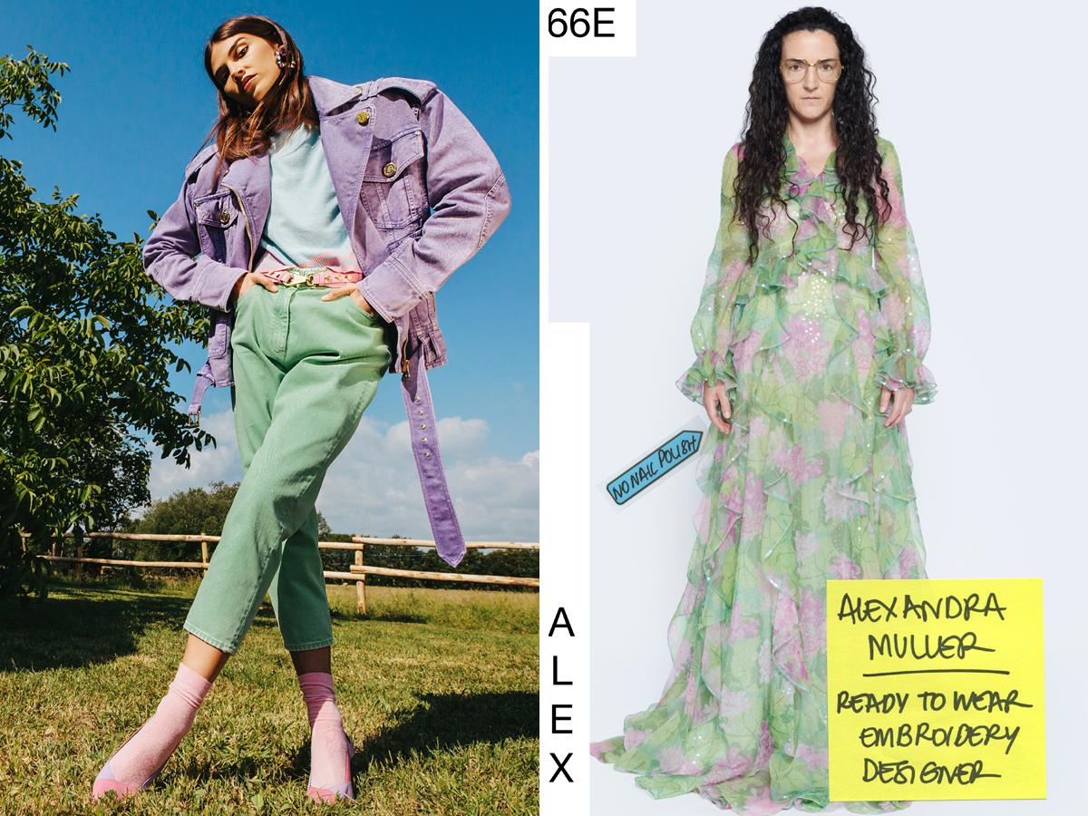 Thiết kế màu pastel tím lilac và xanh bạc hà trong BST resort 2021 của Balmain và Gucci)