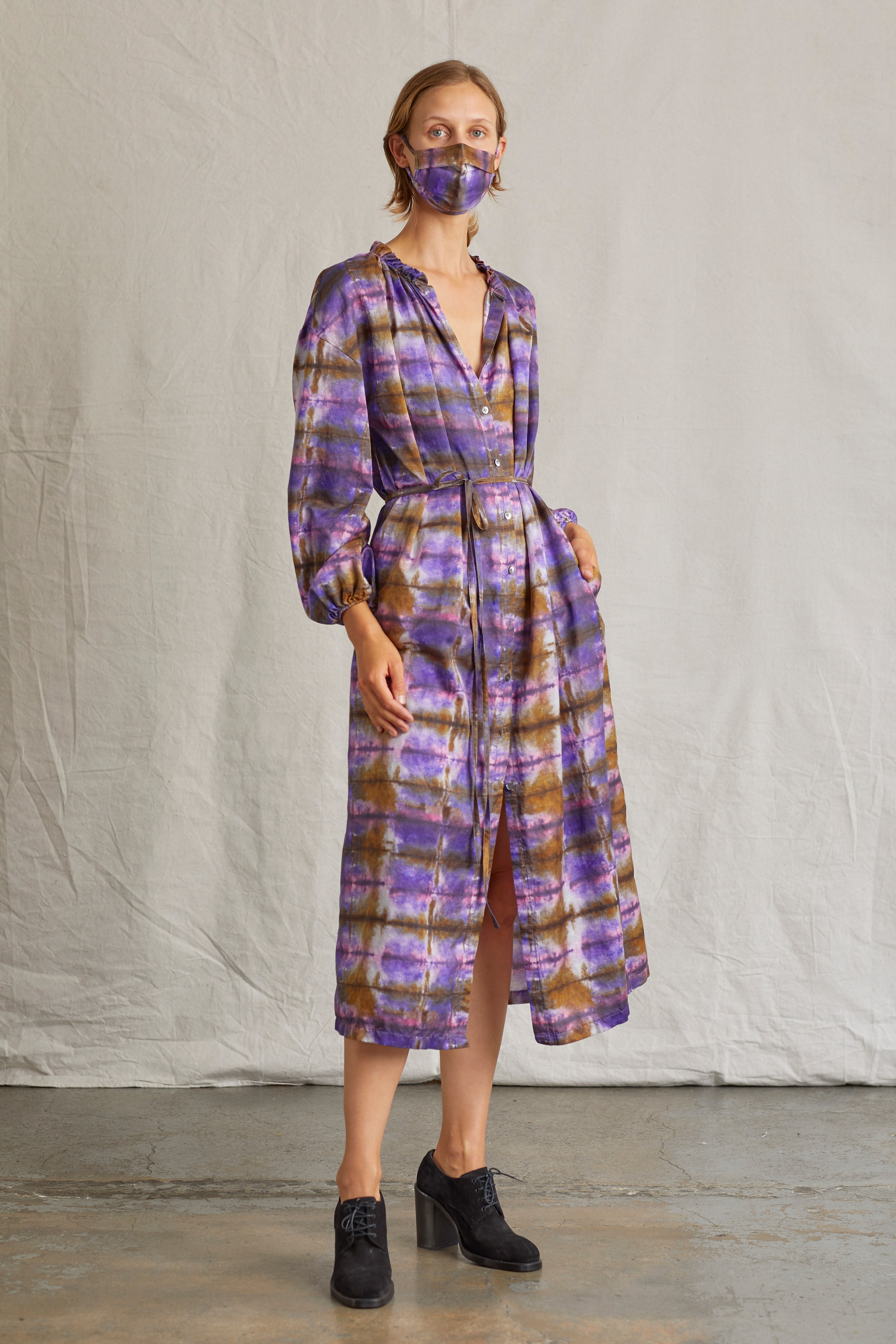 Váy tie dye màu tím lilac - RAQUEL ALLEGRA resort 2021