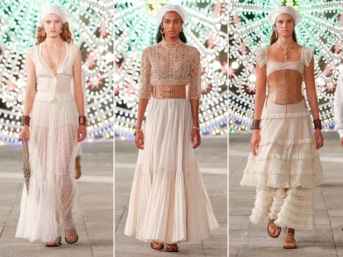 BST Dior Cruise 2021 - Đầm ren trắng và khăn buộc đầu