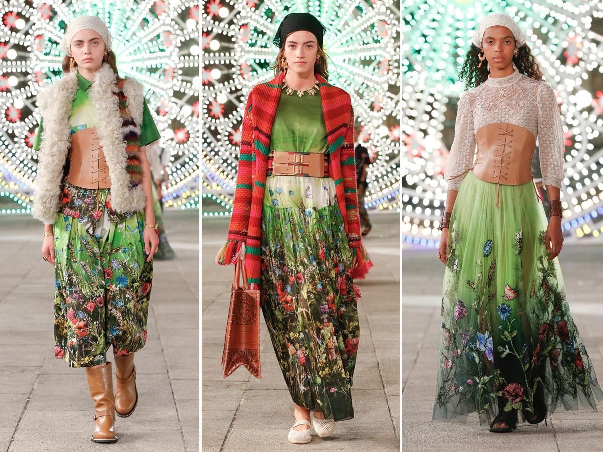 BST Dior Cruise 2021 - Váy voan dài in hoa màu xanh lá