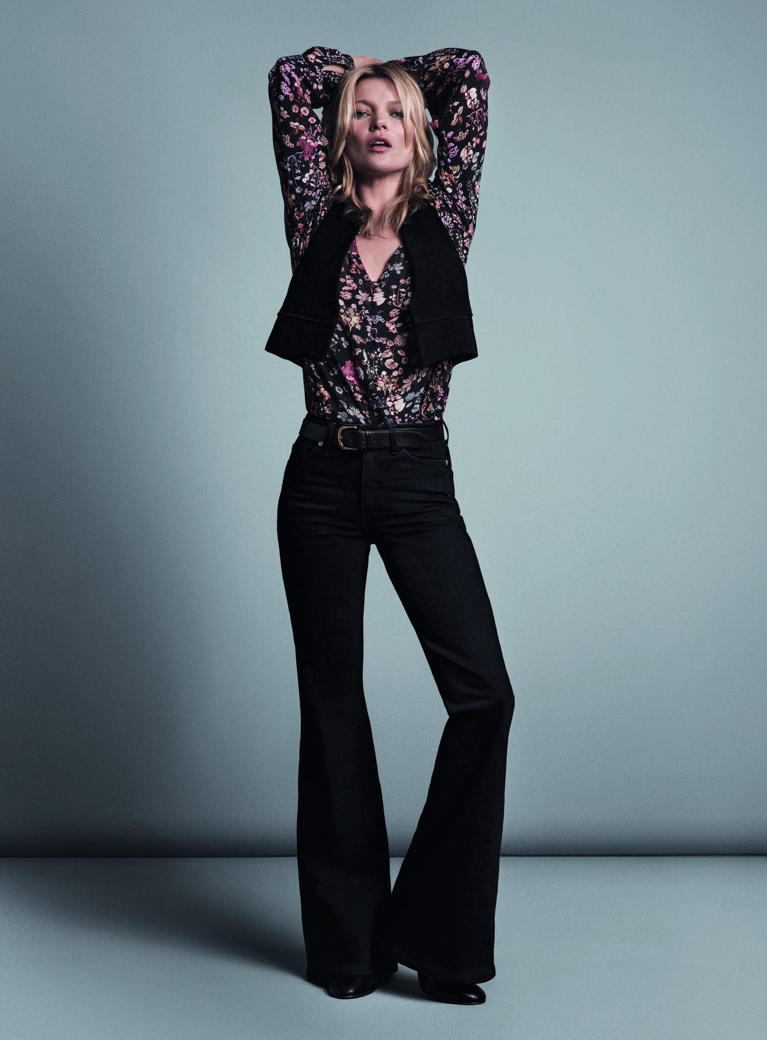 Câu nói hay - Kate Moss mặc áo hoa, quần jeans ống loe trong ad campaign của Mango