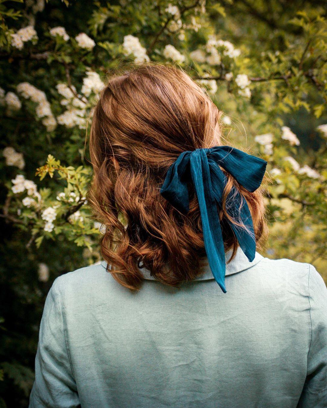 Ruy băng vải buộc tóc màu xanh phong cách thời trang Cottagecore