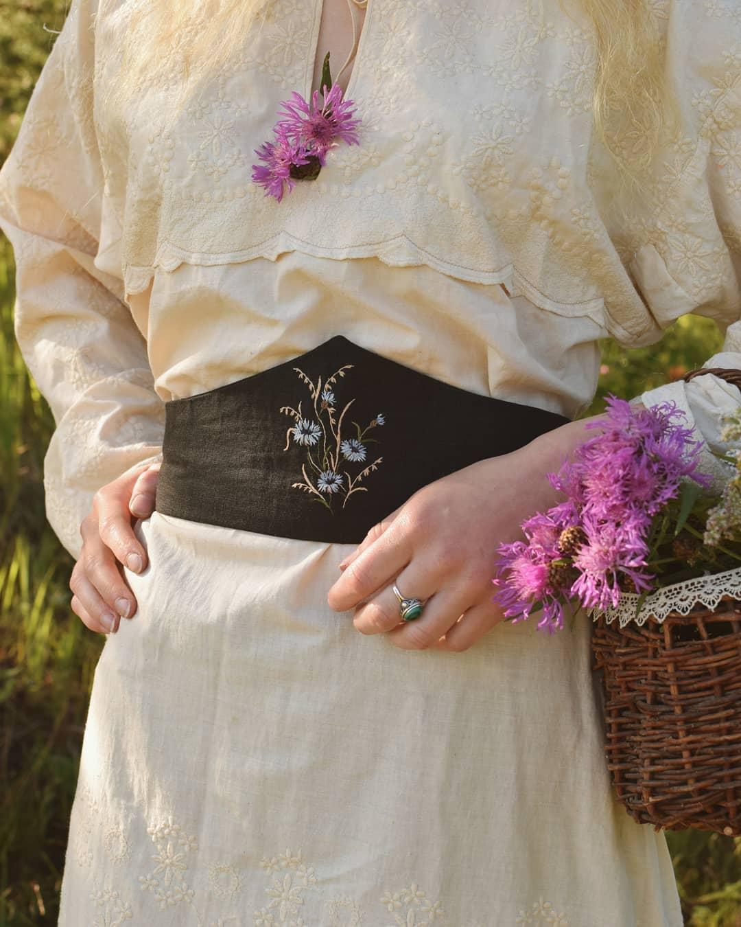 Thắt lưng vải thêu hoa phong cách thời trang Cottagecore