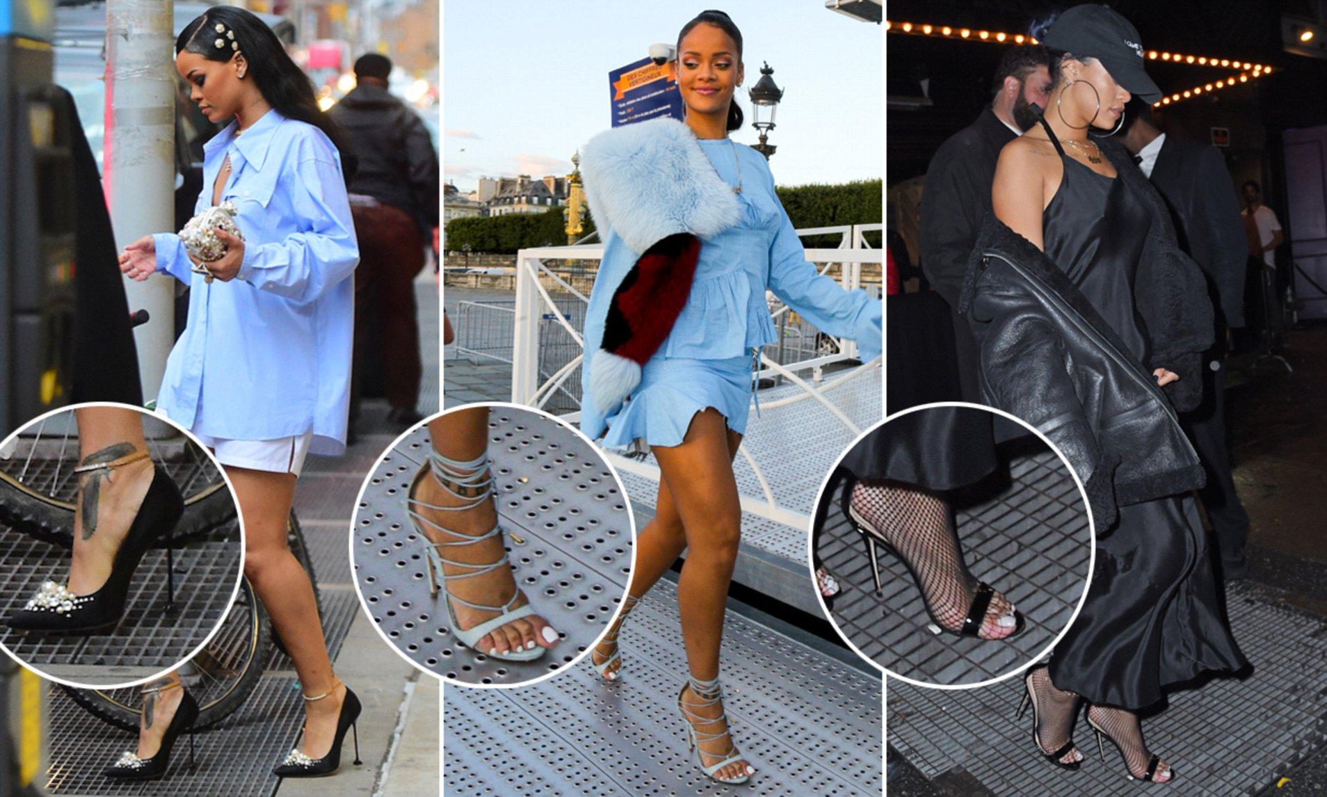 Cách Rihanna đi giày cao gót