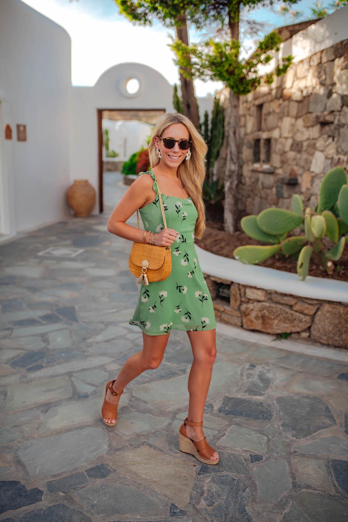Giày đế xuồng váy hoa xanh Katies Bliss