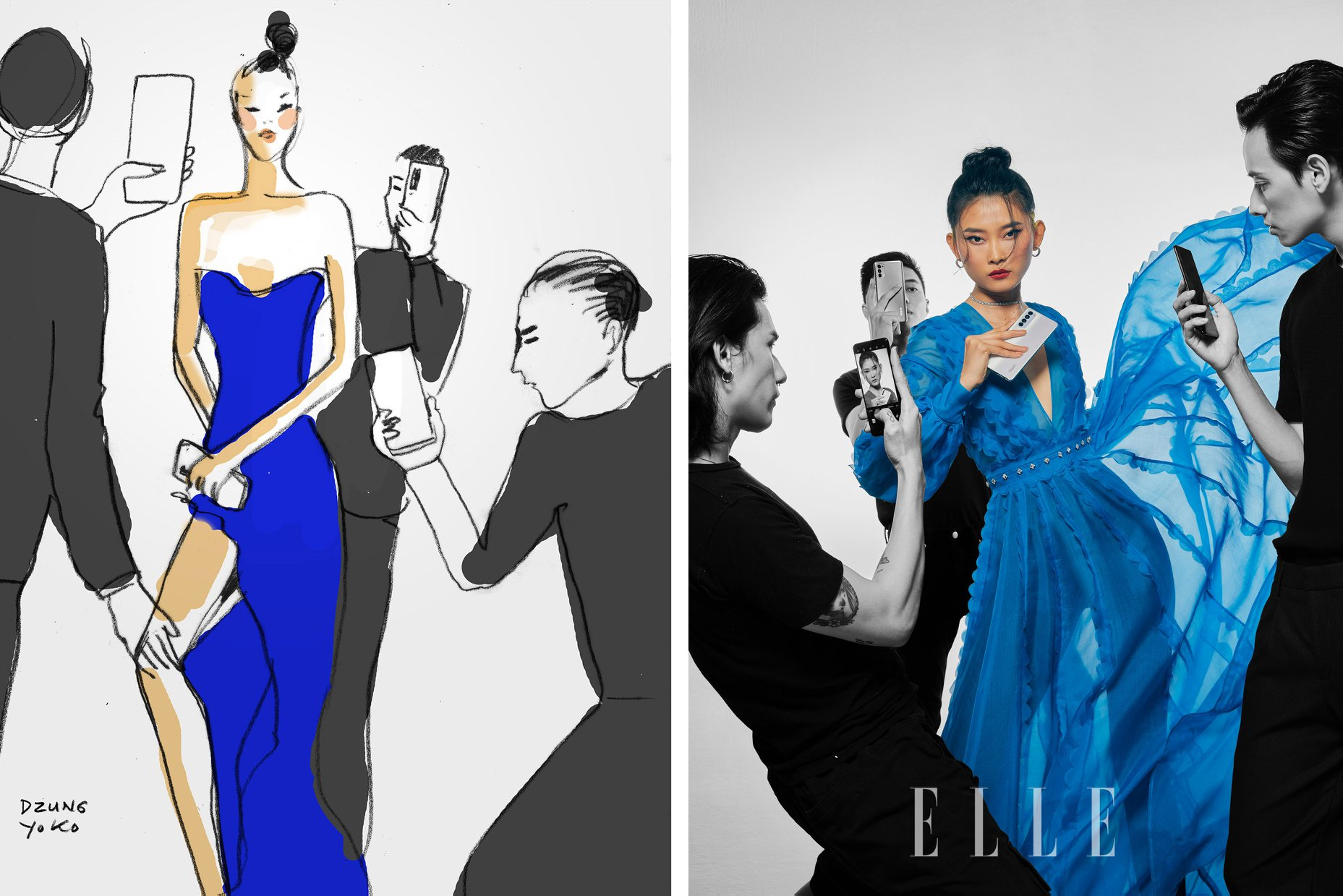 Người mẫu thời trang mặc đầm dạ hội voan xanh nước biển, cầm điện thoại OPPO