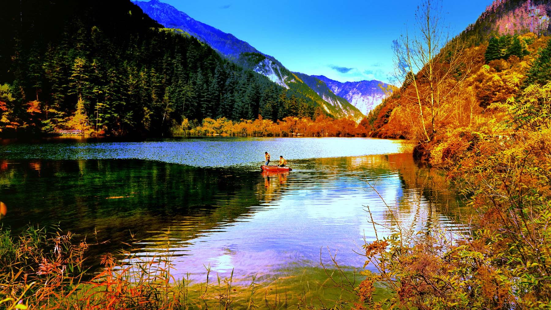 ảnh đẹp cửu trại câu người chèo thuyền