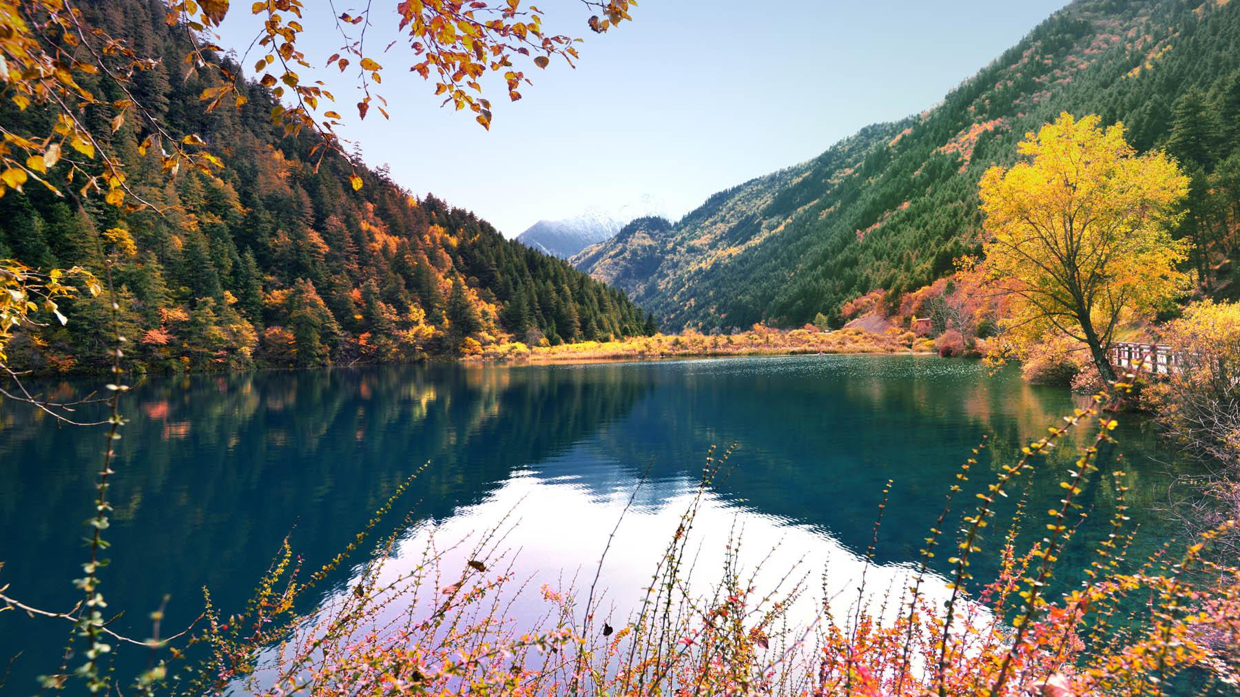 ảnh đẹp cửu trại câu nước xanh mây trắng cây vàng