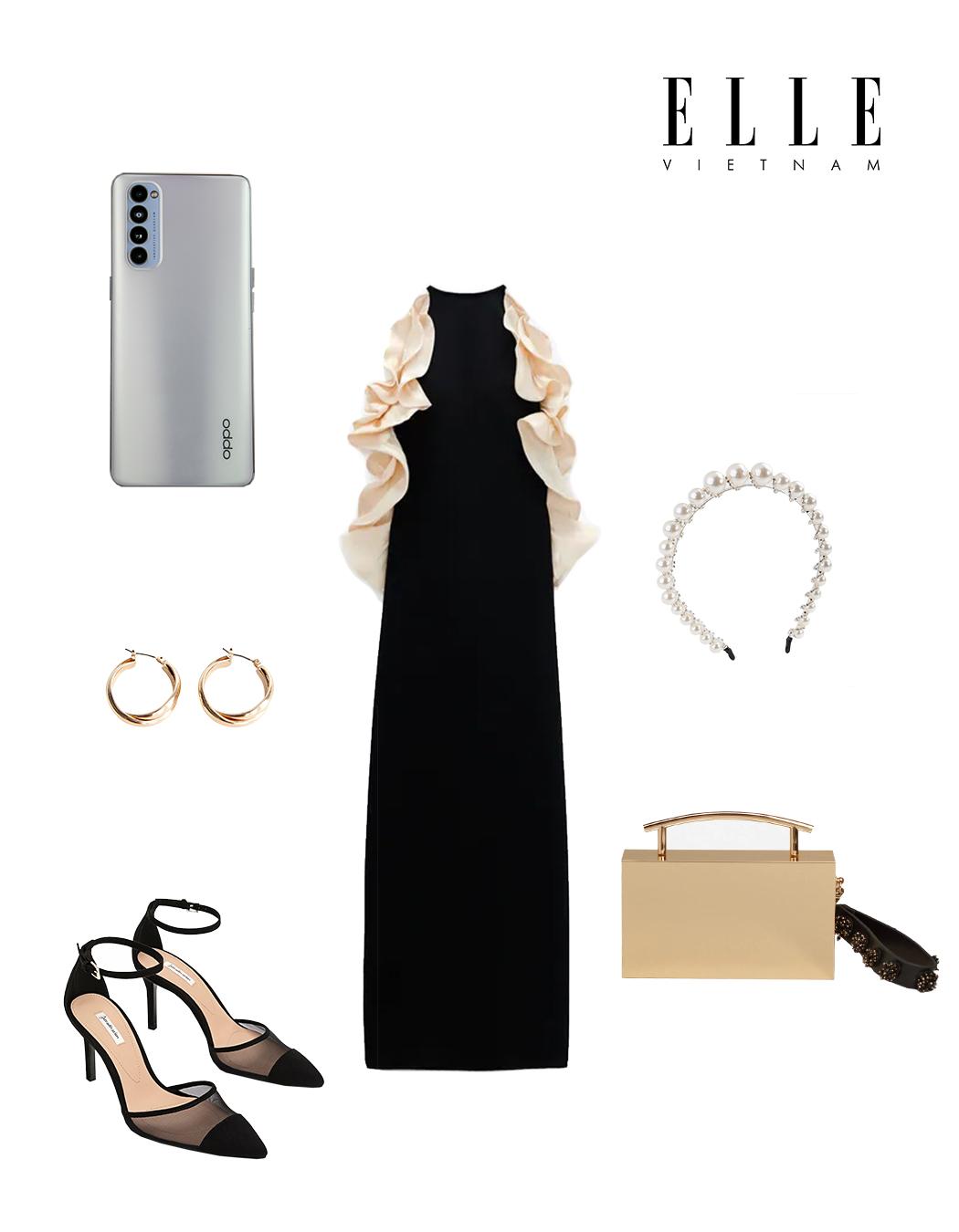 Phối đồ thời trang cùng điện thoại OPPO - Đầm lụa đen trắng