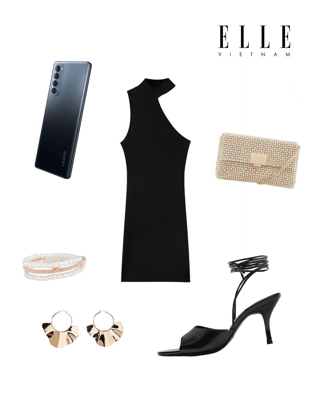Phối đồ thời trang cùng điện thoại OPPO - Đầm bodycon màu đen lệch vai