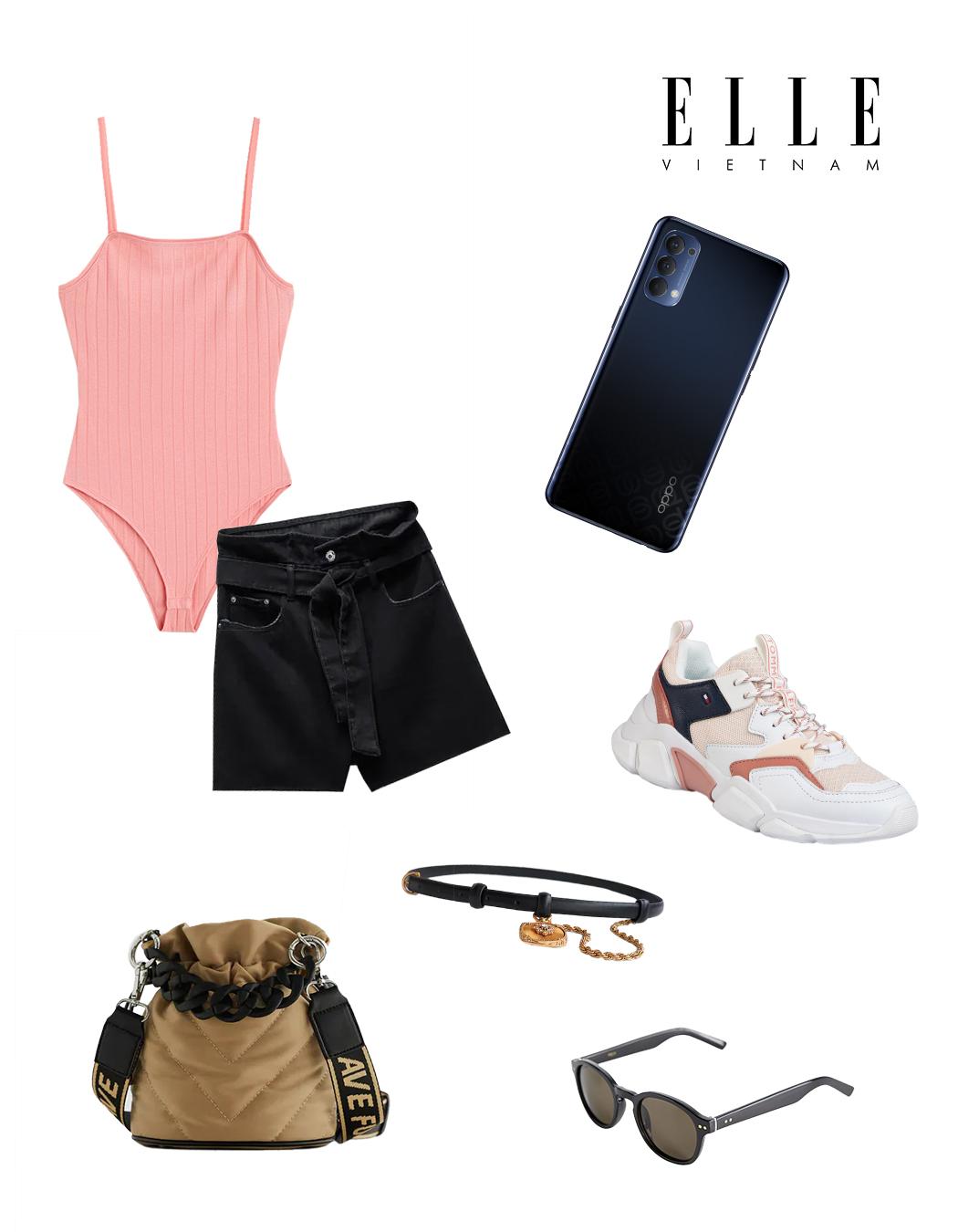 Phối đồ thời trang cùng điện thoại OPPO - Bodysuit hồng, quần shorts đen