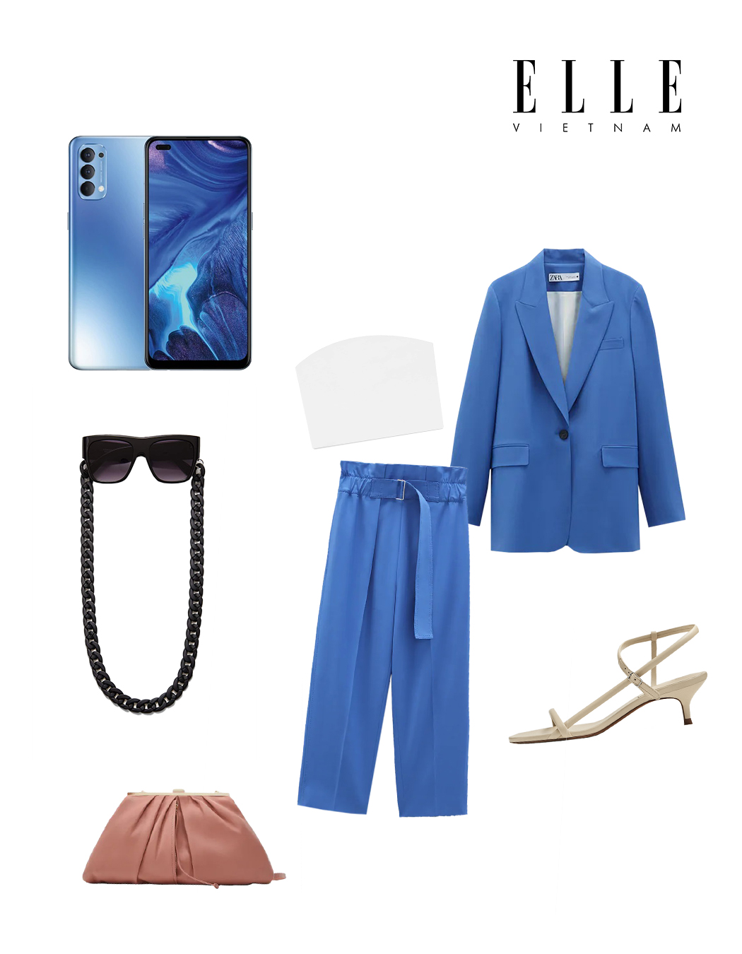 Phối đồ thời trang cùng điện thoại OPPO - Âu phục xanh dương