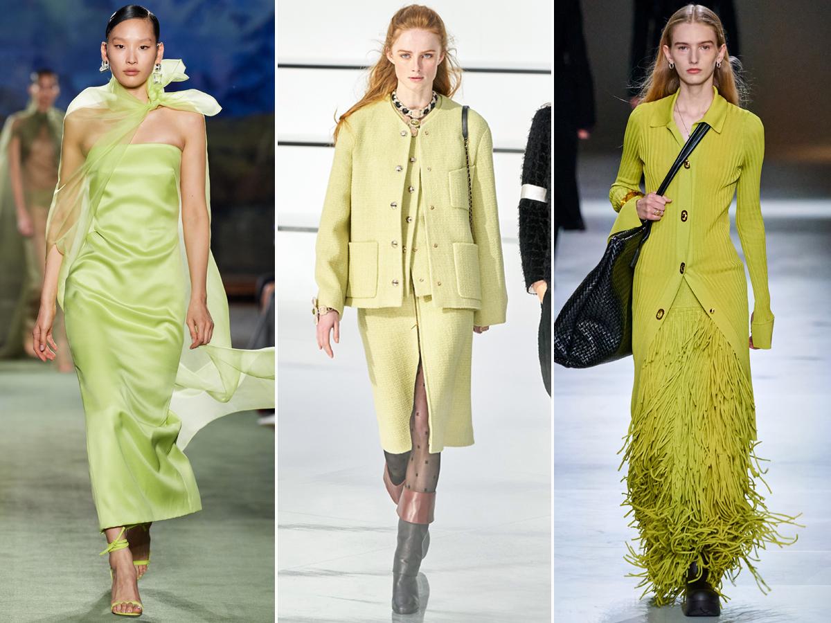 Xu hướng thời trang màu xanh cần tây thu đông 2020