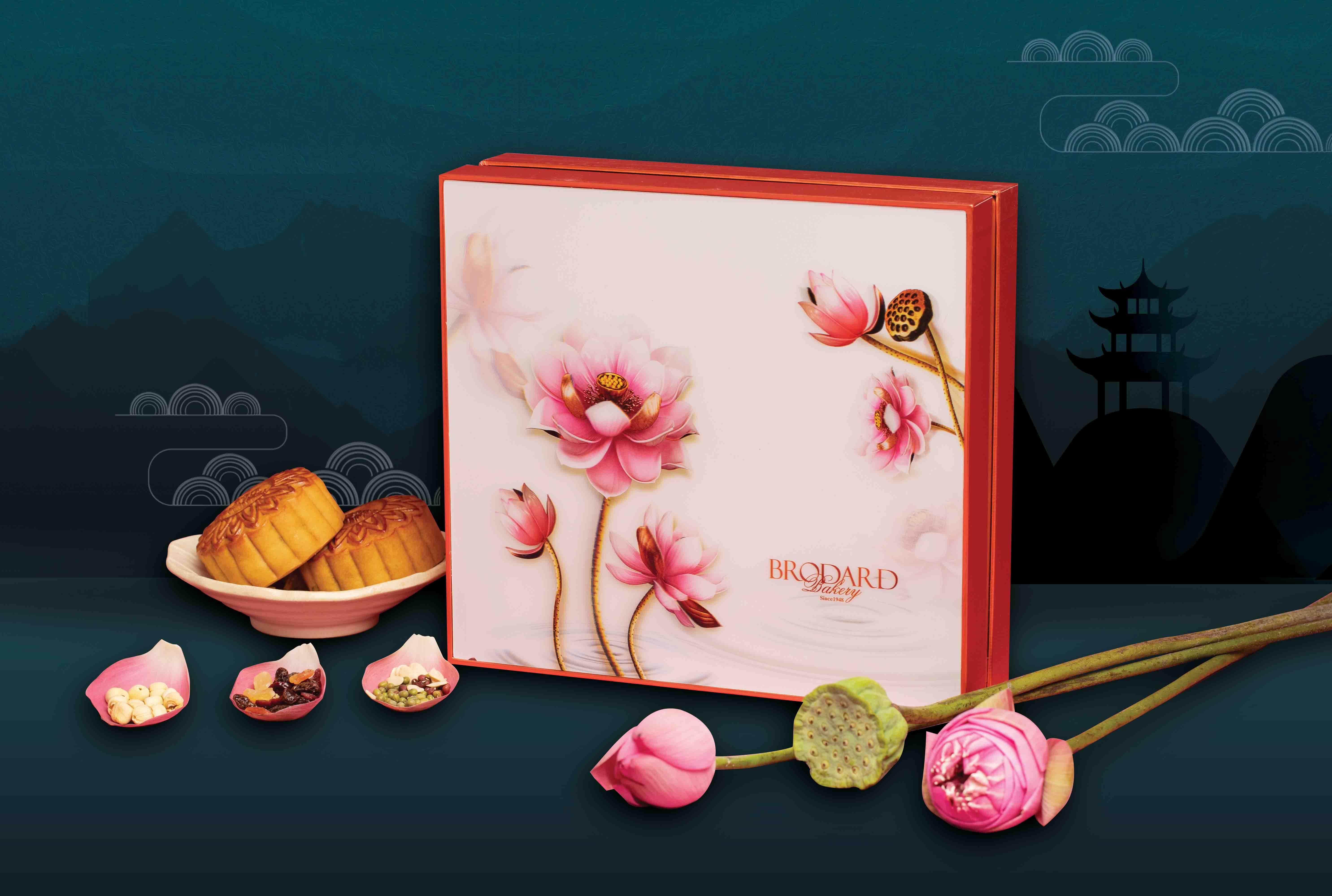 bánh trung thu Brodard hộp tài lộc hồng