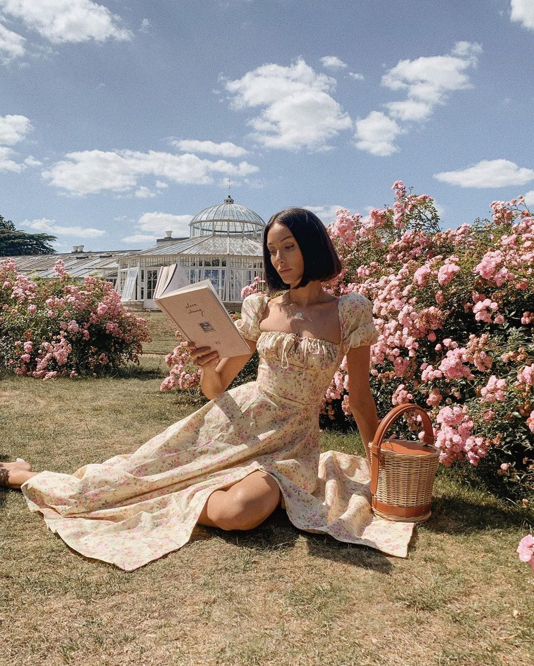 cô gái mặc váy hoa vàng ngồi trên bãi cỏ đọc sách