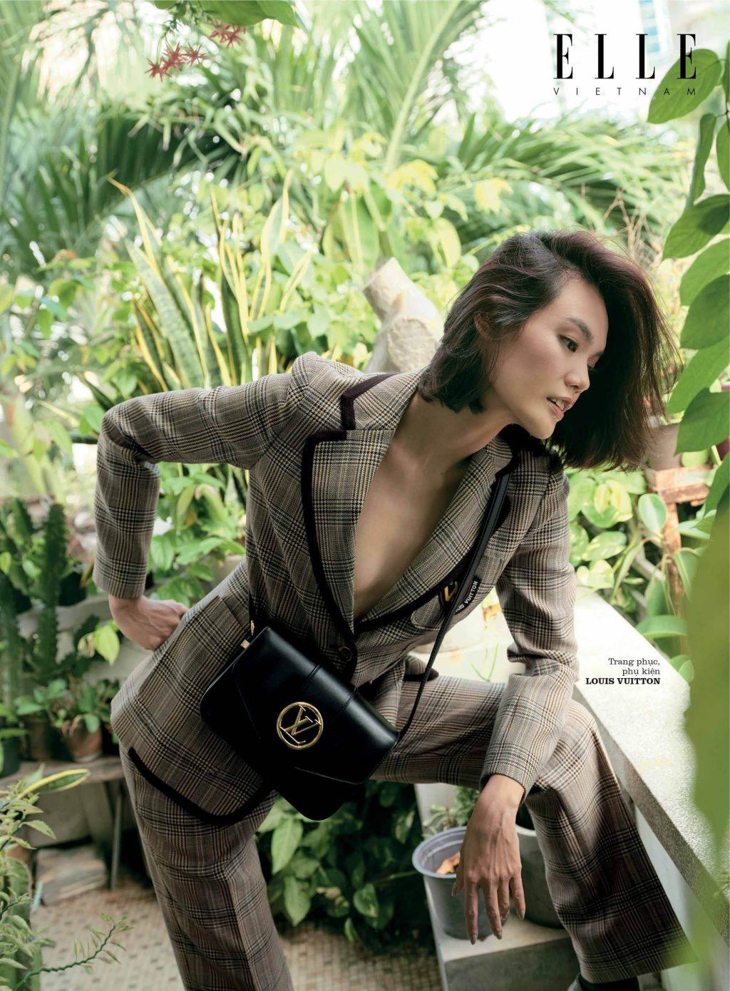 bộ ảnh thời trang áo kẻ caro Louis Vuitton