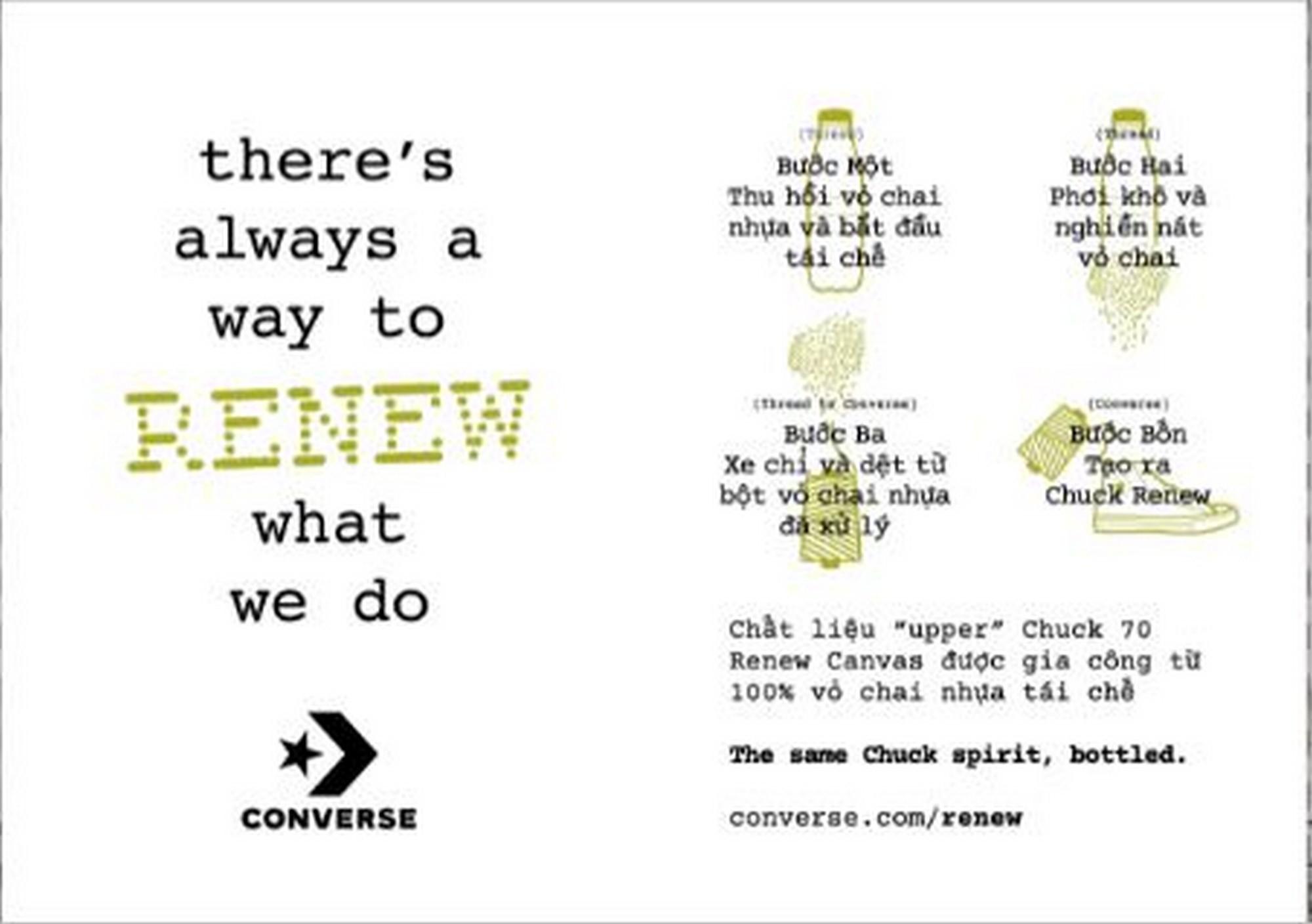 Quy trình tạo ra Renew Converse từ vỏ chai nhựa của Converse