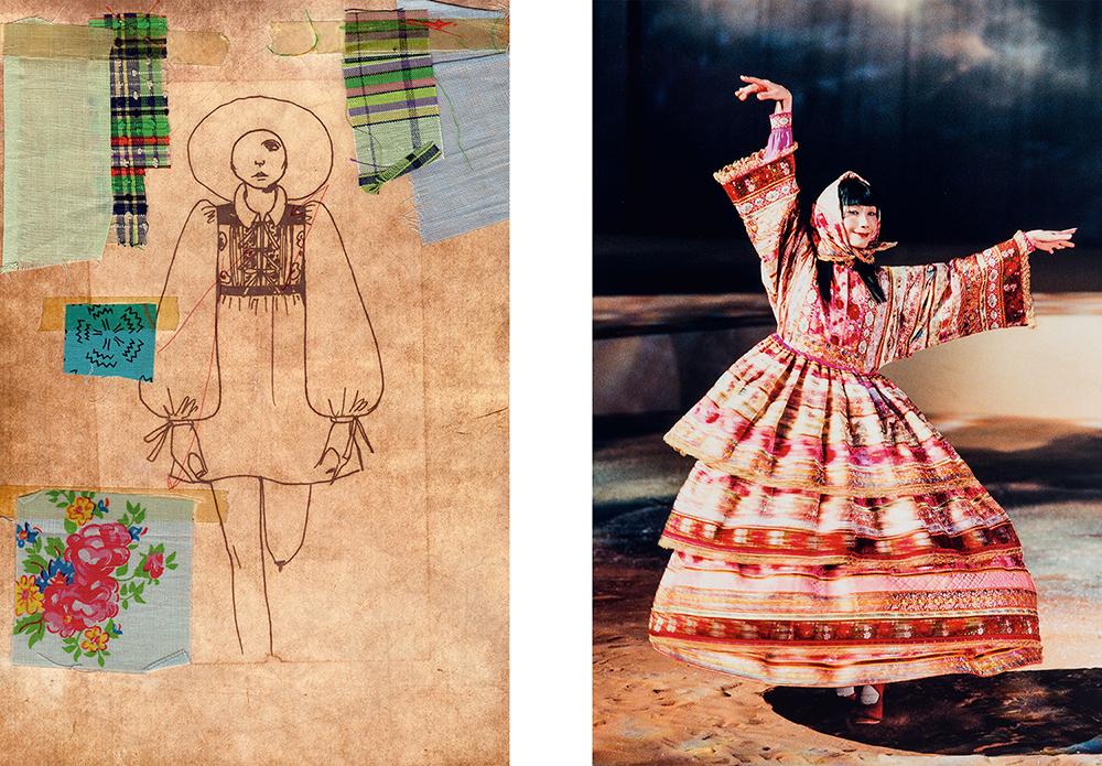 bản phác họa váy cưới của kenzo năm 1971 và thiết kế váy cưới năm 1982