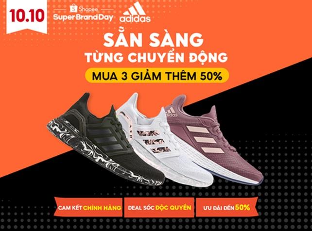 Adidas tung siêu khuyến mãi lên đến 50% trên Shopee.