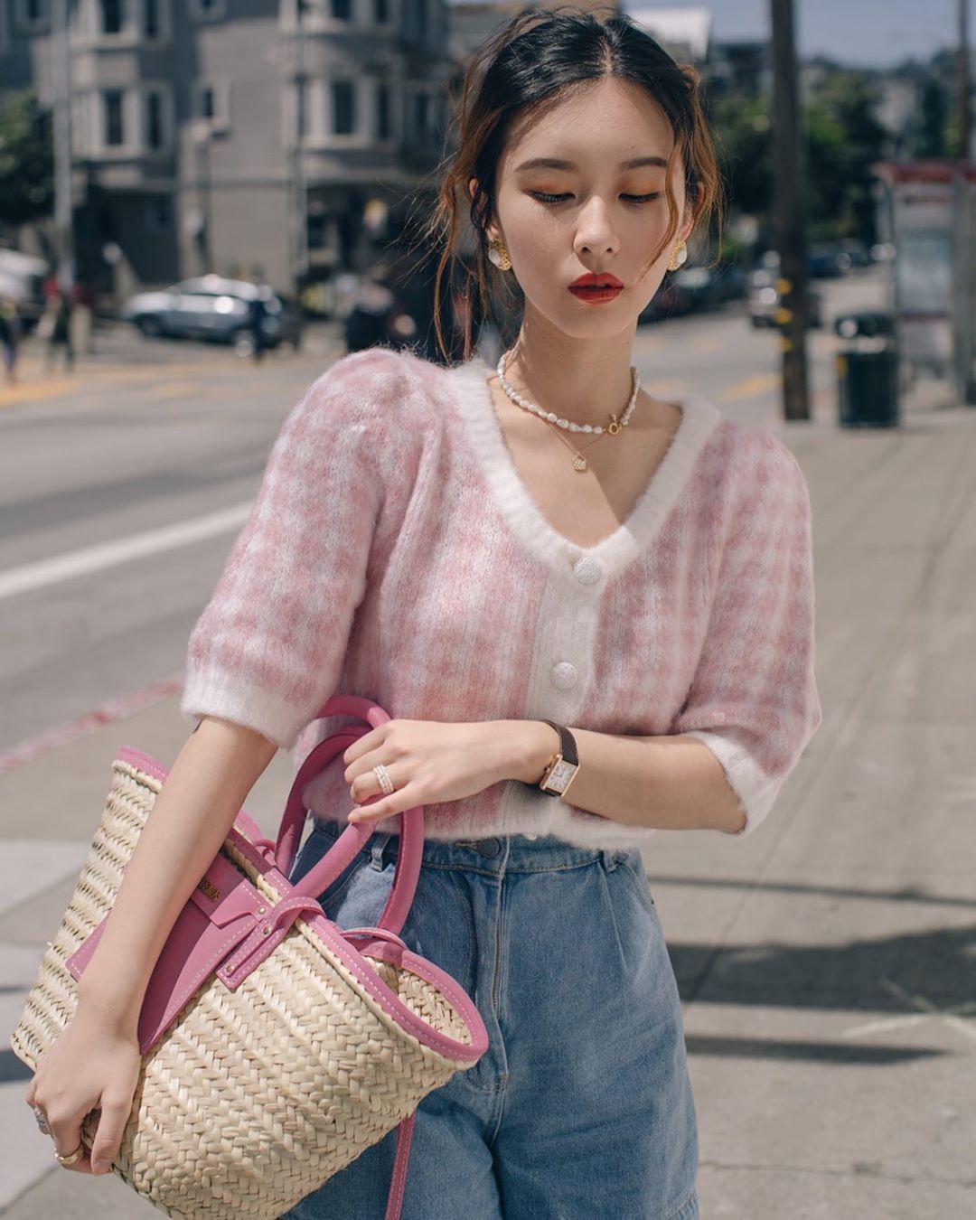 áo cardigan lửng hồng