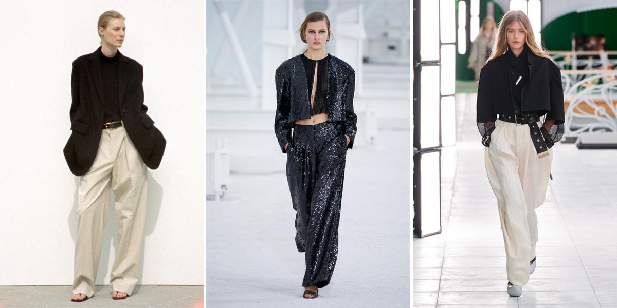 """Xu hướng thời trang Xuân – Hè 2021: Cuộc """"đổ bộ"""" của những kiểu dáng bất quy tắc Chanel-louis-vuitton-the-row-thoi-trang-SS21"""