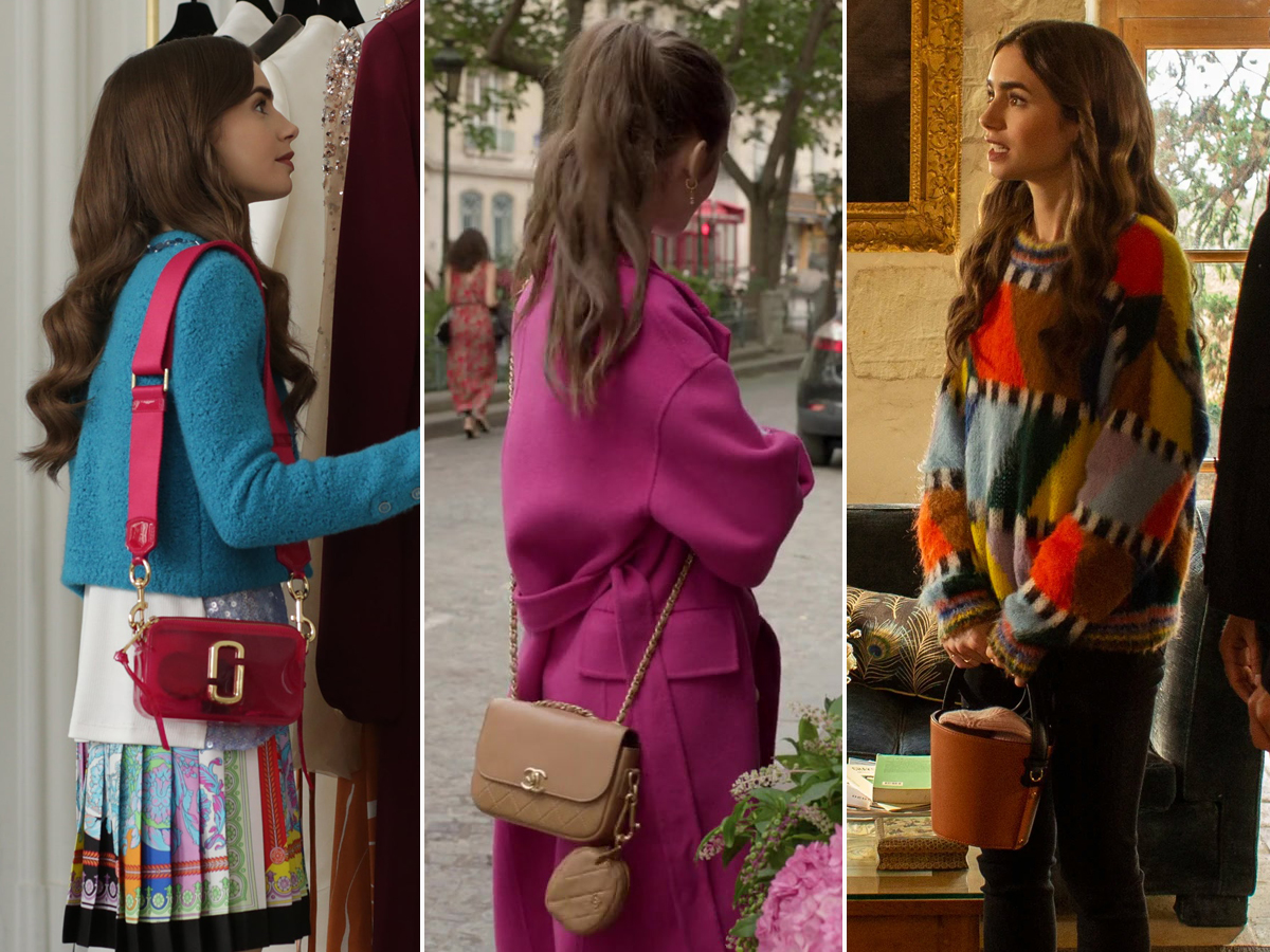Lily Collins đeo túi it-bag trong phim Emily In Paris