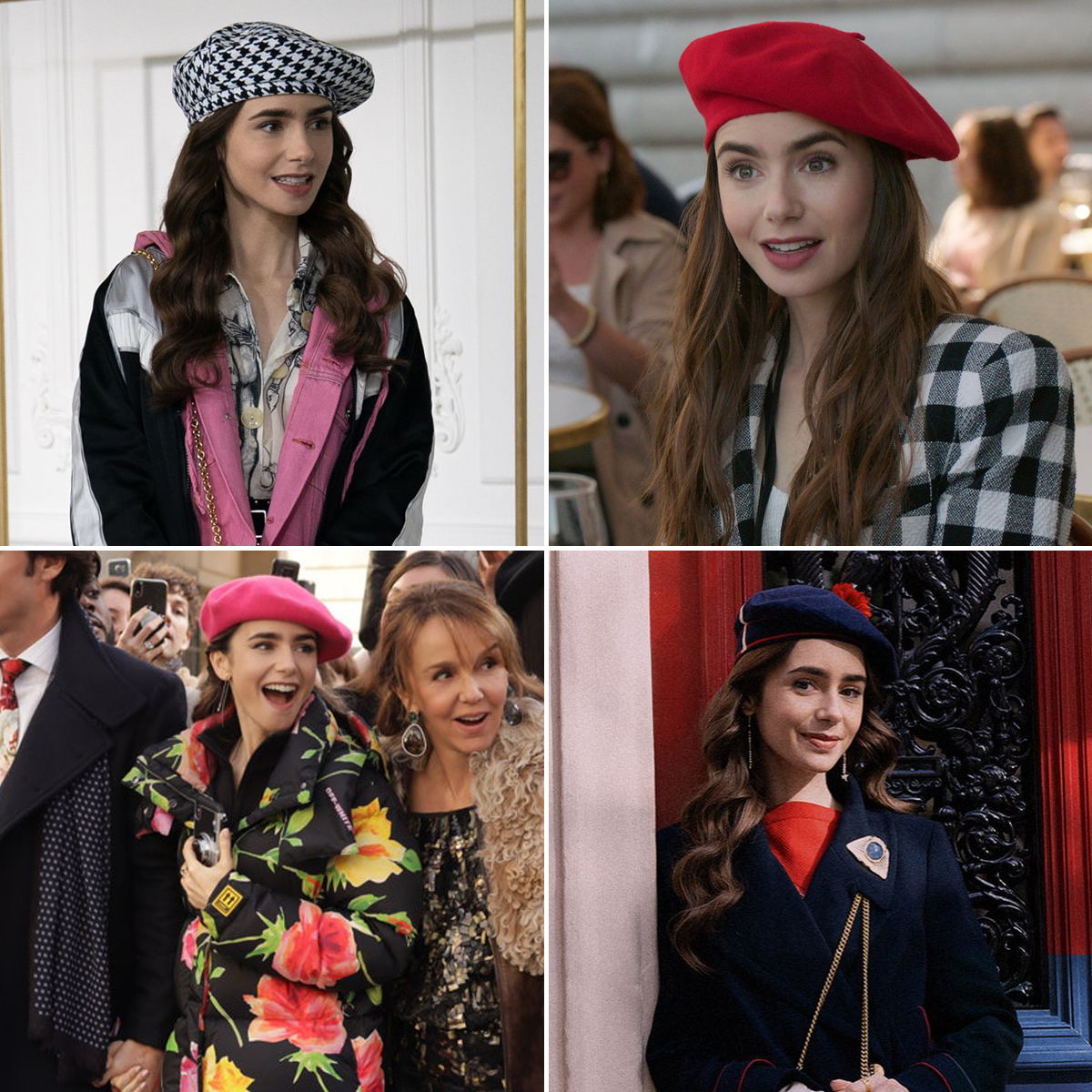 Lily Collins đội mũ beret trong phim Emily In Paris