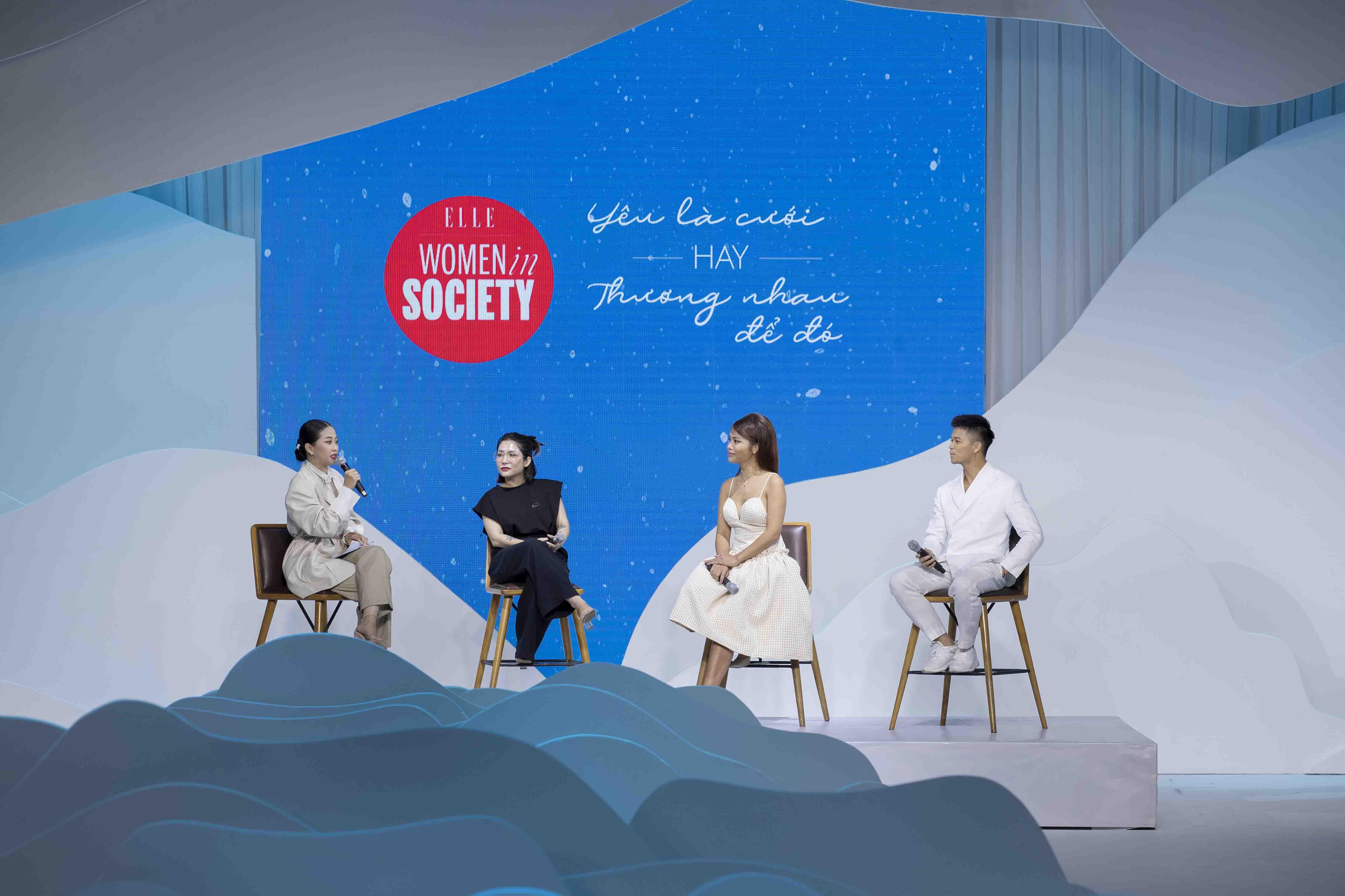 mc liêu hà trinh và 3 khách mời trong talkshow