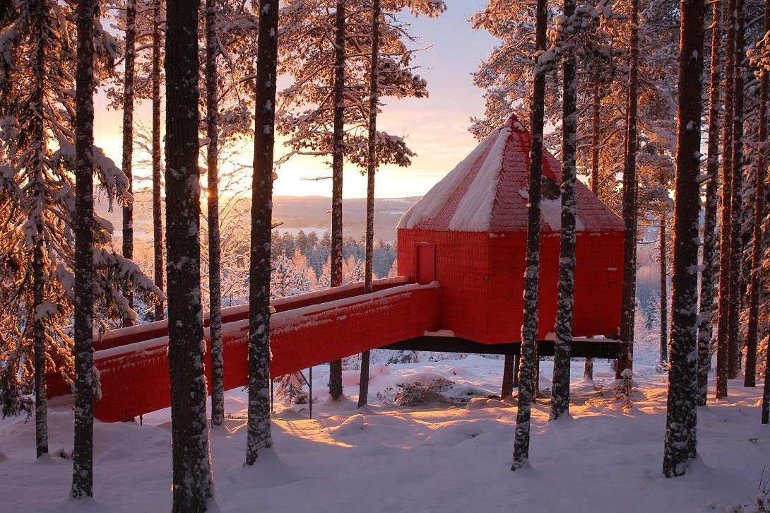 nhà trên cây màu đỏ