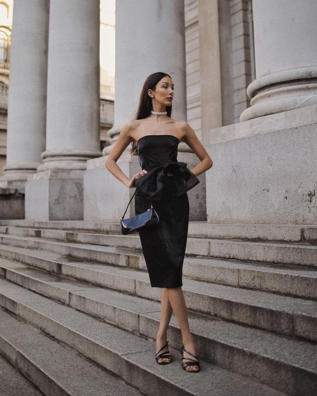 dress code váy đen đi tiệc trang trọng
