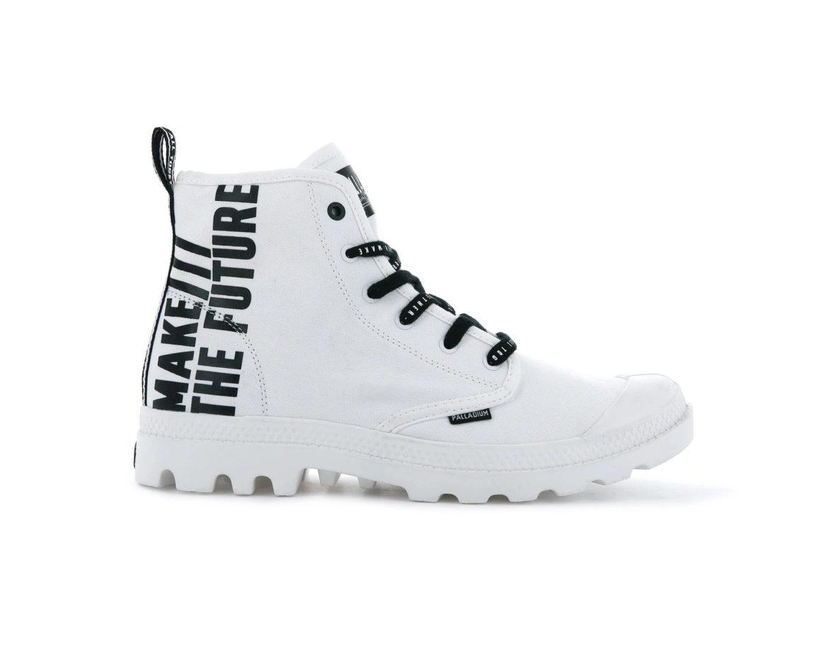 Palladium cùng dòng giày pampa hi future màu trắng cùng dòng chữ Make The Future phong cách thời trang siêu ngầu