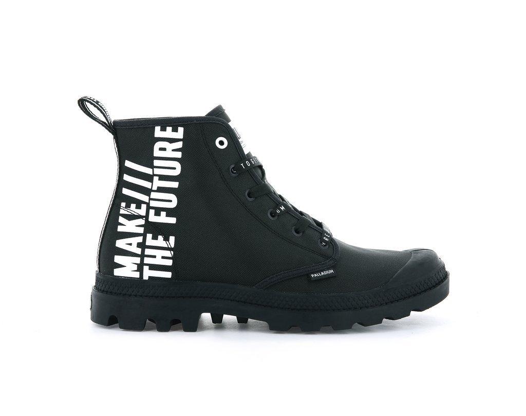 Palladium và dòng giày Pampa Hi Future màu đen và dòng chữ Make The Future phong cách thời trang siêu ngầu