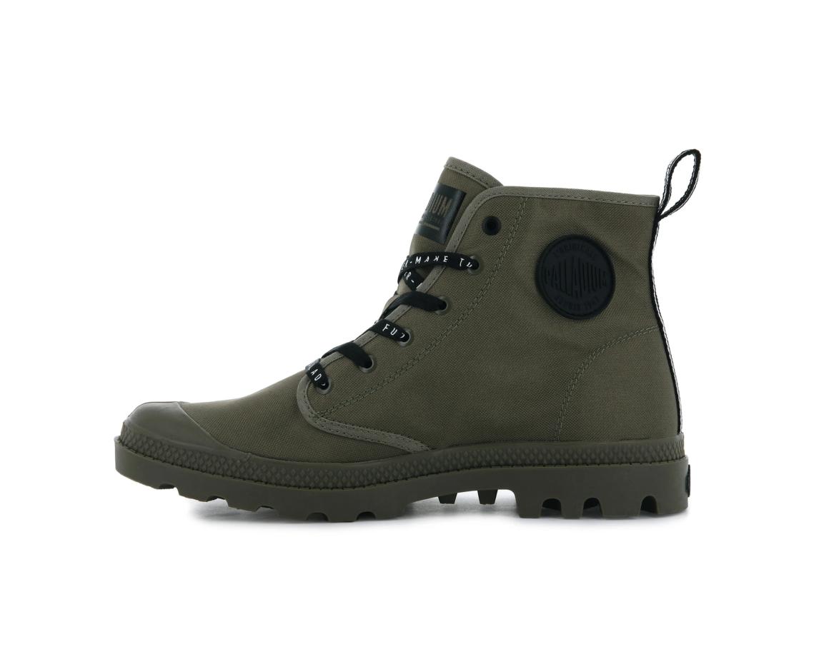 Palladium với dòng giày Pampa Hi futire màu xanh lính cùng dòng chữ màu đen phong cách thời trang siêu ngầu